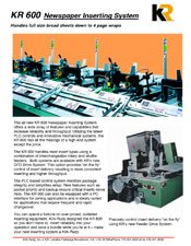 KR600 Newspaper Inserter brochure